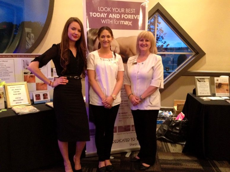 Confident Image Chez France at Pamperfest - from L to R, Jennifer Petherick of SharpLight Technology, certified aesthetician Katie Martin, owner France DiPaola - photo by E. Jurus