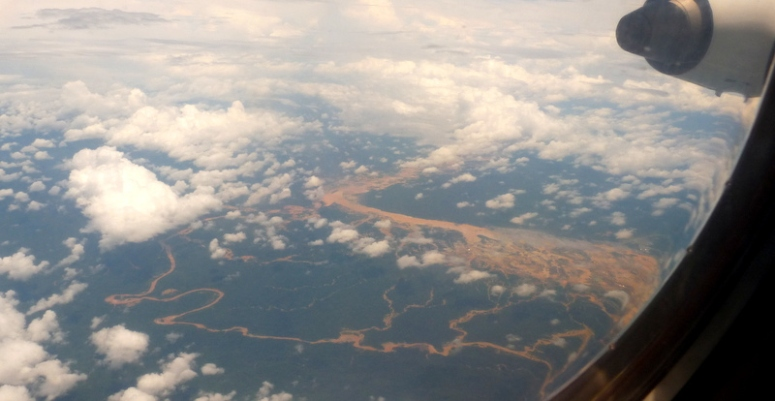Flying over the Amazon river basin