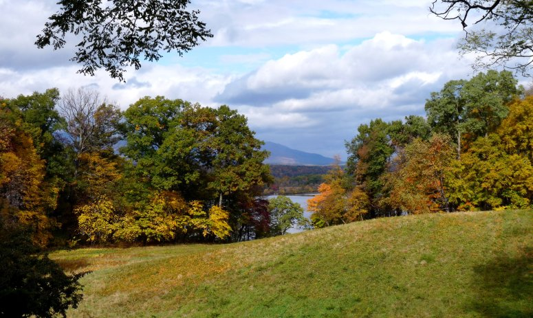 View from the terrace of Montgomery Place historic estate along the Hudson River, NY - photo by E. Jurus