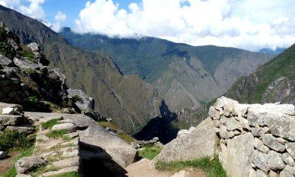 The view looking out from Machu Picchu