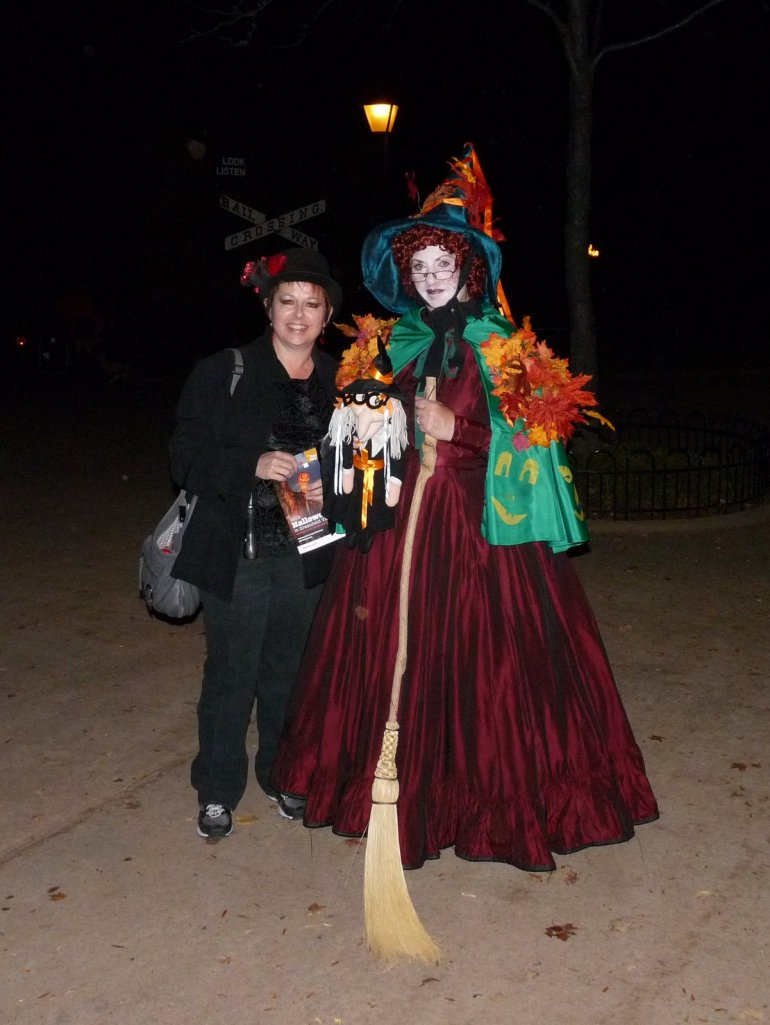 Yours truly with one of the many costumed characters available for photo ops  - photo by E Jurus