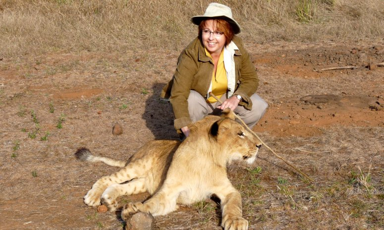 Walking with lions at the African Lion Encounter, Zimbabwe - photo of E Jurus