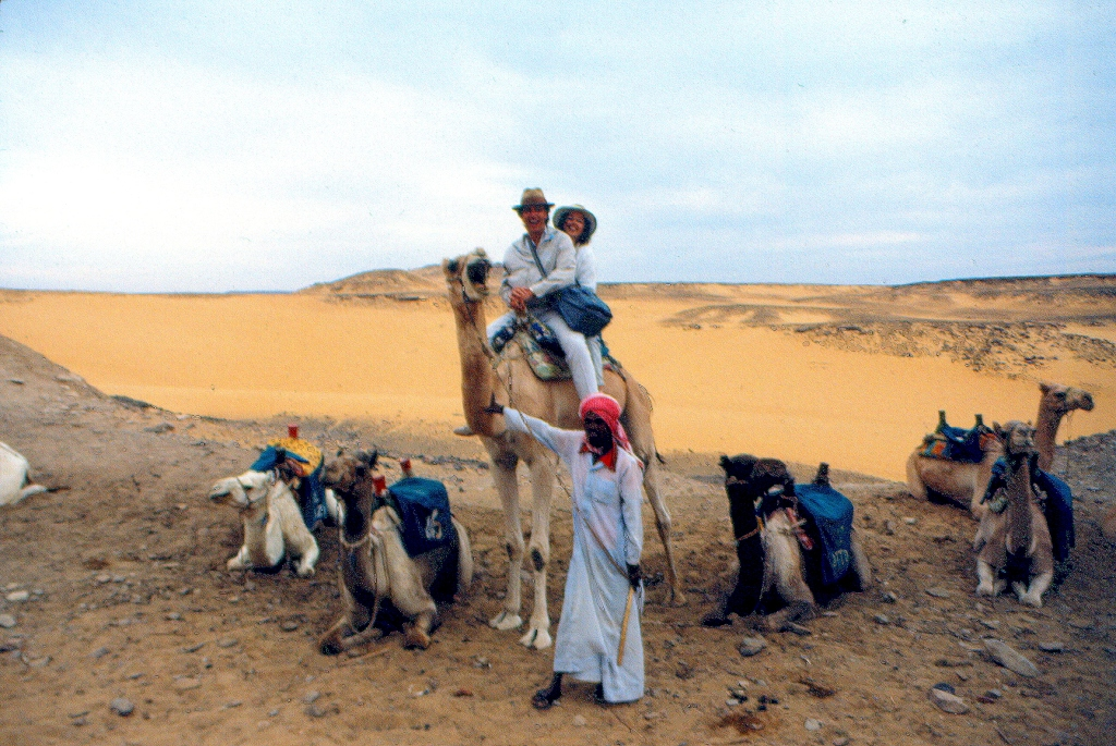 Halfway through our wild camel ride in the Sahara at Aswan - photo on slide, property of E Jurus