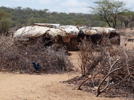 Samburu village surrounded by thorn hedge - photo by E Jurus