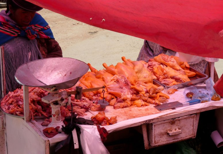Care to buy a chicken in the hot Andean sun while you're crossing the border? - photo by E. Jurus