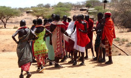 Samburu villagers performing tribal dance, Kenya - photo by E. Jurus