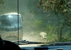 Passing another bus on the Machu Picchu mountain road - photo by E. Jurus