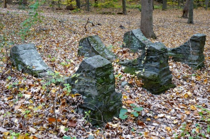 Stone structures near the power station that look like they supported very large pipes - photo by E. Jurus