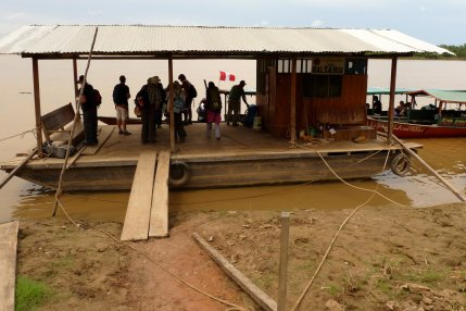 Platform to board motorized canoes on the Madre de Dios River - photo by E. Jurus