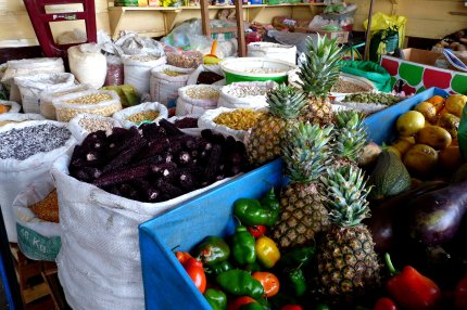 Foodstuffs in the market at Puerto Maldonado - photo by E. Jurus